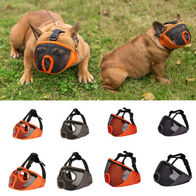 Mesh Short Snout Dog Muzzle Adjustable Mask for Bulldogs Flat Faced Dogs S-XL