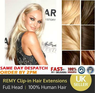 CLEARANCE Clip in Human Hair Extensions Full Head 100% Real Remy Hair Long DIY