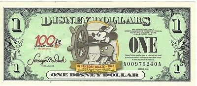 Disney Dollars 2002 $1  Steamboat Mickey MINT    A