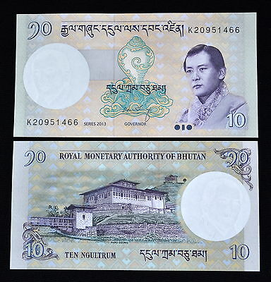 Bhutan 10 Ngultrum 2013. P-29b. UNC. 1PCS.  Asian.