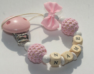 Personalised Wooden Dummy Clip Chain Pacifier Baby Gift Shower