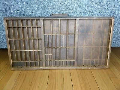Antique HAMILTON PRINTERS TYPESET DRAWER Wood Tray Shadow Box Divided Hanging