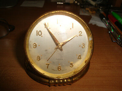 Antique Vintage A. KRAUTHIEM  CLOCK 8 Day SWISS Travel Desk Pocket Alarm watch