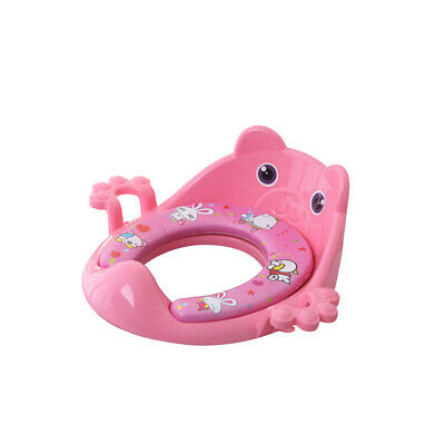 Baby Kids Girl Soft Padded Pink Potty Training Toilet Seat With Handles