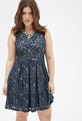 ae2dba3fee2 FOREVER 21 PLUS Size Navy Gold Lace Pleated Floral-Patterned Dress ...