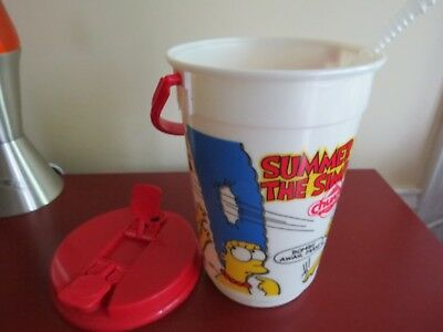 Vintage 1995 Summer with The Simpsons 64 oz. Bucket Travel Cup RARE