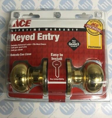 ACE KEYED ENTERY DOOR LOCK Universal Latch Polished Brass Finish Fixing Included