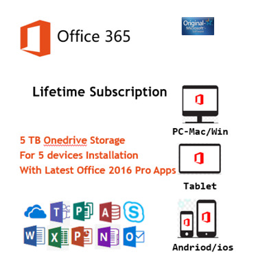 Microsoft Office 365 Account Lifetime 2016 Pro Apps For 5 Users 5 TB Onedrive