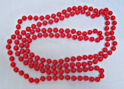 Vintage 70 Inch Long Red Lucite Beads Necklace Antique Flapper Style