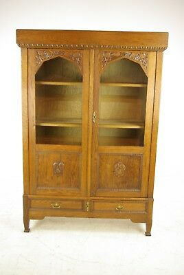Antique Art Deco Bookcase, Carved Oak Bookcase, Carved Oak Cabinet, 1920s, B1151