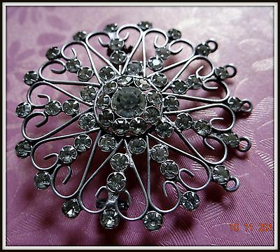GORGEOUS Antique Russian Filigree Brooch STERLING SILVER 875 SNOWFLAKE