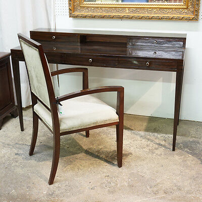 Transitional Writing Desk and Chair set in High Gloss Espresso finish