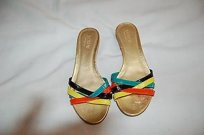 7d12b556f0855 J. Crew Orange Yellow Black Green Patent Leather Flip Plops Sandals Shoes