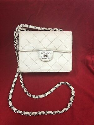 Authentic Vintage Chanel White Stiched Caviar Leather Small Square Flap Bag