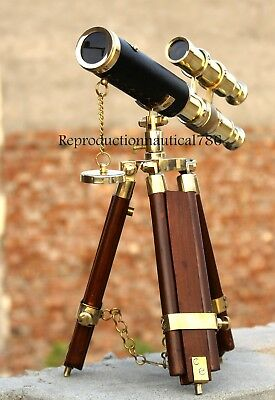 Handmade Solid Brass Double Barrel Telescope With Wooden Tripod Decorative