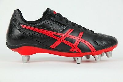 Mens Asics Lethal Tackle Lace Up Black Red Rugby Boots