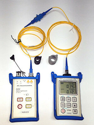 AFL Noyes SMLP5-5 SM/MM Fiber Optic Loss Test Set OLS-4 OPM5-2D w/ VFL, Cleaners