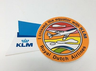 KLM Airline Sticker Decal Vintage Royal Dutch Airlines Crossed The Equator #6920