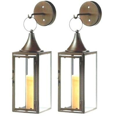 2 Pendant Hurricane Lantern Sconce Pillar Candle Holder Wall