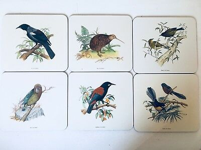 Set Of 6 Jason Placemats Birds New Zealand In Box Cork Backed Nib