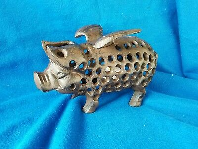 Lg. Cast Iron Flying Pig Tea Light Holder ~Farmhouse Country Rustic Hog