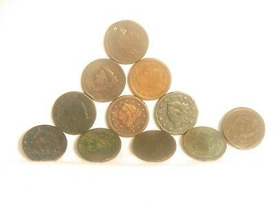 Grouping of 11 US Large Cents