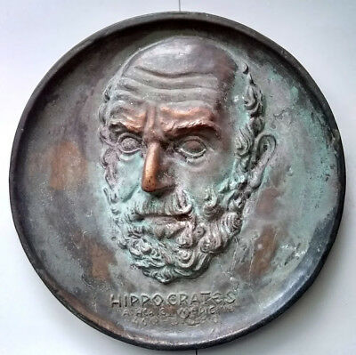 Vintage Antique J & J Hippocrates Cast Metal Bronze Copper Finish Wall Plaque 9""