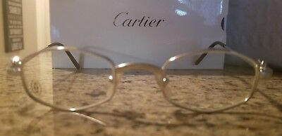 be4f401e8aa6 CARTIER Platinum OCTAGON EYEGLASSES GLASSES - AUTHENTIC NEW T8100427