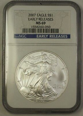 2007 US American Silver Eagle Coin ASE $1 NGC MS-69 Early Releases 1 OZT .999