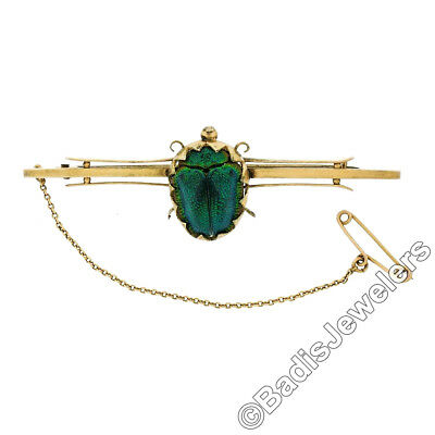 Antique Victorian 9K Yellow Gold Detailed Green Enamel Scarab Bar Pin Brooch