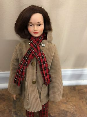 Vint. Remco Judy Littlechap Doll in her Plaid Pants & Coat Football Outfit #1105
