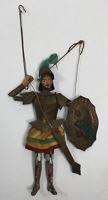 Antique 1800s Marionette Victorian Knight Puppet Rare Museum Carved Wood & Tin