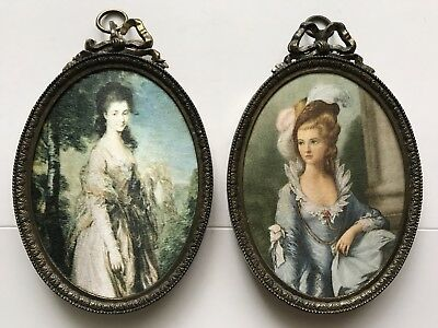 Vintage Pair Oval Brass Ornate Frame Victorian Lady Portrait Silk Picture Italy