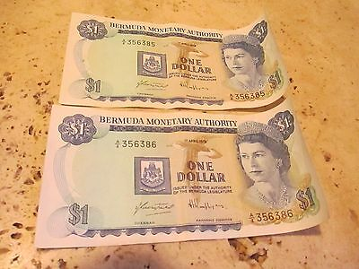 Vintage BERMUDA MONETARY AUTHORITY - Lot Of (2) Sequential Dollars #356385-386