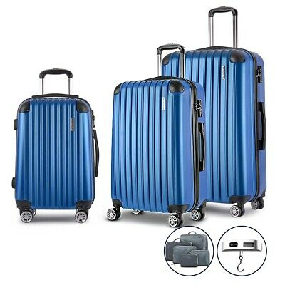 3PCS Hard Shell Travel Luggage w/ Scale Suitcase  Retractable Case TSA Lock Blue