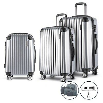 3PCS Hard Shell Travel Luggage w/ Scale Suitcase Retractable TSA Lock Silver
