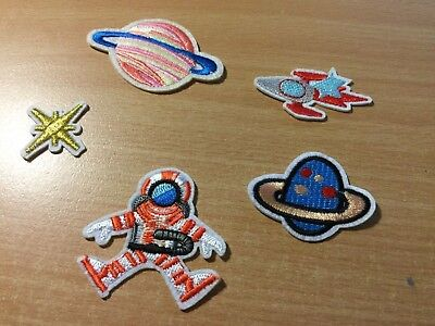 5 Embroidered Iron-On Patches Appliques, Astronaut, Rocket, Planets, Star