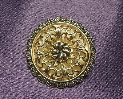 Filigree Ornate Flower Vintage Scarf Brooch Clip Marked W Germany-Silver Tones