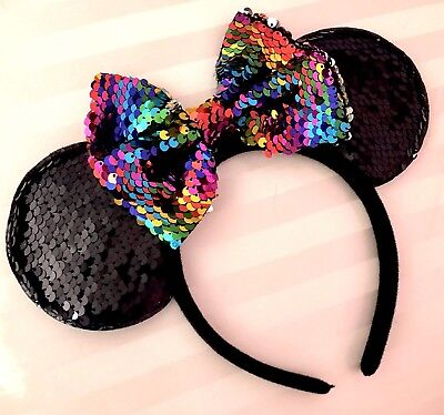 NEW Color Changing Minnie Mouse Black Sequin Ears Headband Rainbow Silver Bow