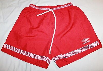 """Vtg  Umbro """"Acropolis"""" Soccer Shorts Red/White Mid 90s Size XL NWT Made in USA"""