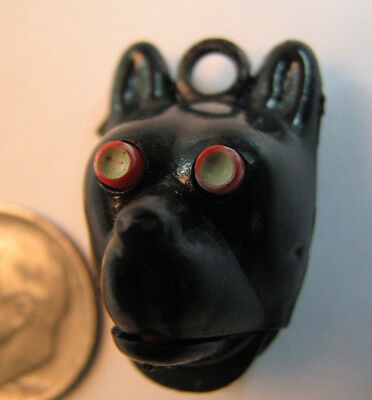 Vintage Black Dog Gumball Charm Prize-Mechanical-Eyes pop out and tongue appears