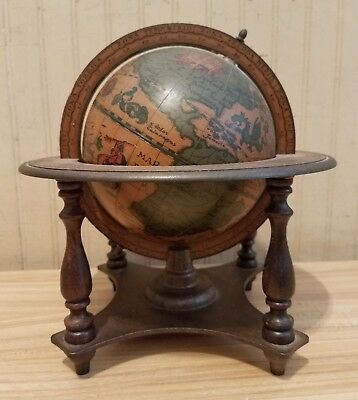 Vintage Old World Globe, Wood Stand, Zodiac, 16th Century Reproduction, Italy