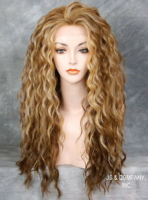 Two tone Blondes Tangerine mix HEAT SAFE Lace Front wig Curly Wavy NBH 2216