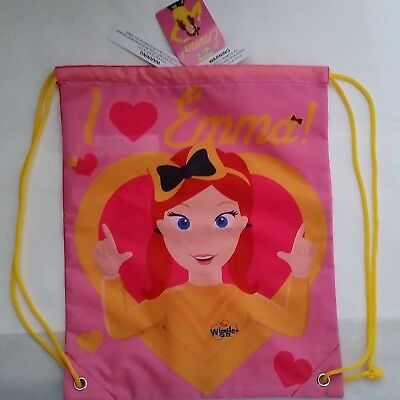THE WIGGLES EMMA WIGGLE drawstring carry sling bag pink NEW 34x41cm
