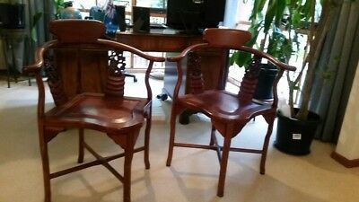 Pair of Rosewood Oriental Chinese Armchairs