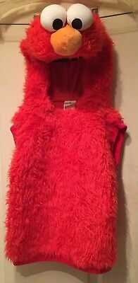 Sesame Street - Red Elmo Vest Costume - Attached Character Hood Size 2T-4T
