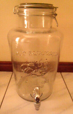 OLD FASHION 2 GALLON (7LTR) GLASS DRINK CONTAINER & DISPENSER w CHROME METAL TAP