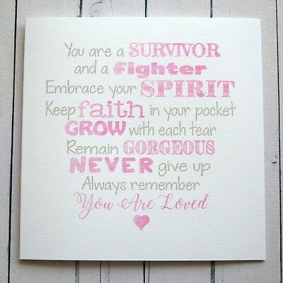 inspirational message card breast cancer illness support love get