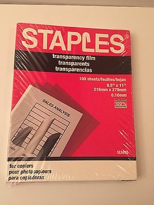 Staples Transparency Film New in Sealed Box 100 Sheets Copiers SL5039