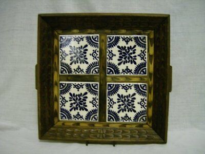 Vintage Carved Wood & 4 Tile Mexico Tray ~Cobalt & White Hp Tile~ 2